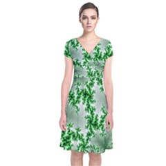 Green Fractal Background Short Sleeve Front Wrap Dress
