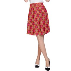 Abstract Seamless Floral Pattern A-Line Skirt