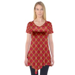 Abstract Seamless Floral Pattern Short Sleeve Tunic