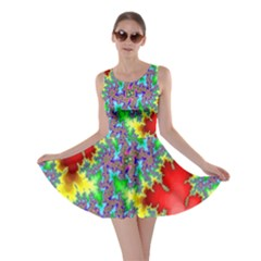 Colored Fractal Background Skater Dress