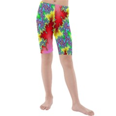 Colored Fractal Background Kids  Mid Length Swim Shorts