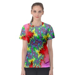 Colored Fractal Background Women s Sport Mesh Tee