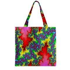 Colored Fractal Background Grocery Tote Bag