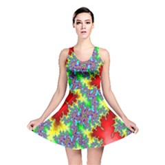 Colored Fractal Background Reversible Skater Dress