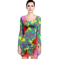 Colored Fractal Background Long Sleeve Bodycon Dress