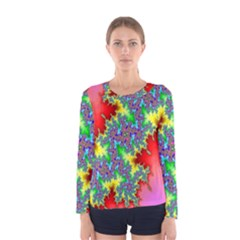 Colored Fractal Background Women s Long Sleeve Tee