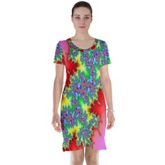 Colored Fractal Background Short Sleeve Nightdress
