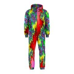 Colored Fractal Background Hooded Jumpsuit (Kids)