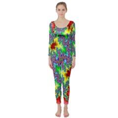 Colored Fractal Background Long Sleeve Catsuit