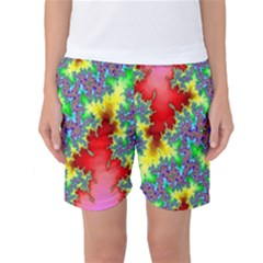 Colored Fractal Background Women s Basketball Shorts