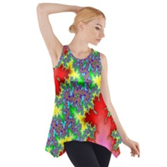 Colored Fractal Background Side Drop Tank Tunic