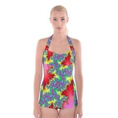 Colored Fractal Background Boyleg Halter Swimsuit