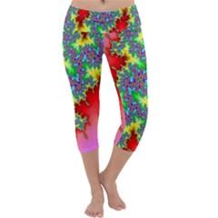 Colored Fractal Background Capri Yoga Leggings