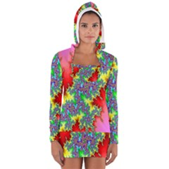 Colored Fractal Background Women s Long Sleeve Hooded T Shirt