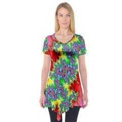 Colored Fractal Background Short Sleeve Tunic
