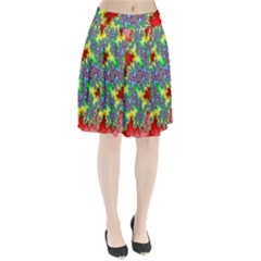 Colored Fractal Background Pleated Skirt