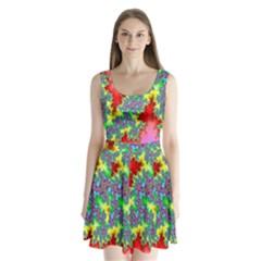 Colored Fractal Background Split Back Mini Dress