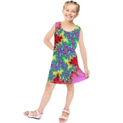 Colored Fractal Background Kids  Tunic Dress