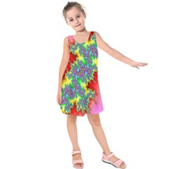 Colored Fractal Background Kids  Sleeveless Dress