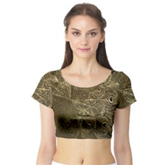 Peacock Metal Tray Short Sleeve Crop Top (Tight Fit)