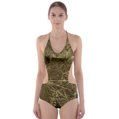 Peacock Metal Tray Cut-Out One Piece Swimsuit