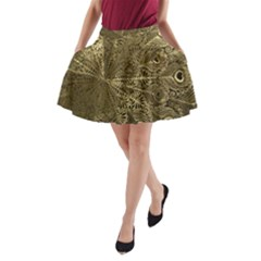 Peacock Metal Tray A-Line Pocket Skirt