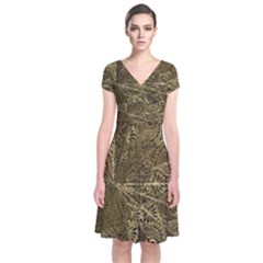 Peacock Metal Tray Short Sleeve Front Wrap Dress