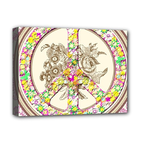 Peace Logo Floral Pattern Deluxe Canvas 16  x 12