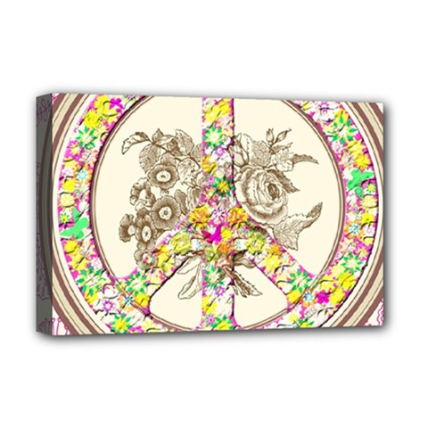 Peace Logo Floral Pattern Deluxe Canvas 18  x 12