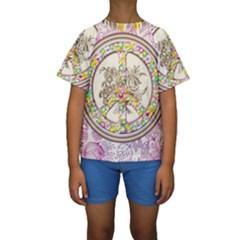 Peace Logo Floral Pattern Kids  Short Sleeve Swimwear