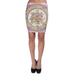 Peace Logo Floral Pattern Bodycon Skirt