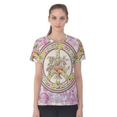 Peace Logo Floral Pattern Women s Cotton Tee