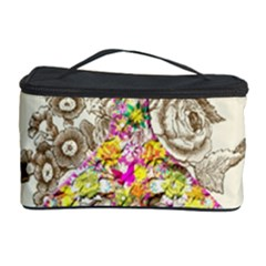 Peace Logo Floral Pattern Cosmetic Storage Case