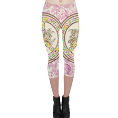 Peace Logo Floral Pattern Capri Leggings