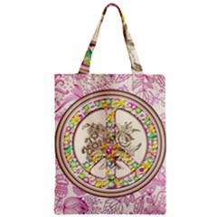 Peace Logo Floral Pattern Zipper Classic Tote Bag
