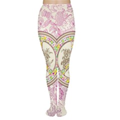 Peace Logo Floral Pattern Women s Tights
