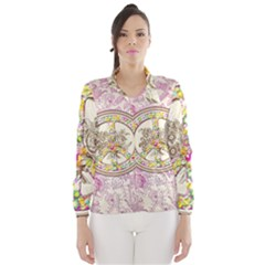 Peace Logo Floral Pattern Wind Breaker (Women)