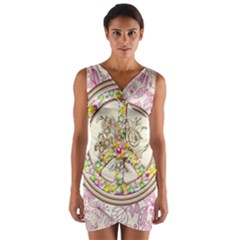 Peace Logo Floral Pattern Wrap Front Bodycon Dress