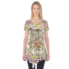 Peace Logo Floral Pattern Short Sleeve Tunic