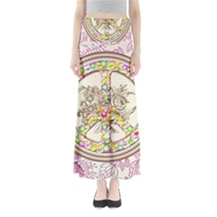 Peace Logo Floral Pattern Maxi Skirts