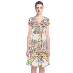 Peace Logo Floral Pattern Short Sleeve Front Wrap Dress
