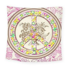 Peace Logo Floral Pattern Square Tapestry (large)