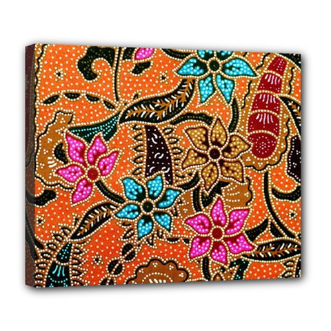 Colorful The Beautiful Of Art Indonesian Batik Pattern Deluxe Canvas 24  x 20