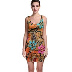 Colorful The Beautiful Of Art Indonesian Batik Pattern Sleeveless Bodycon Dress