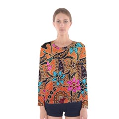 Colorful The Beautiful Of Art Indonesian Batik Pattern Women s Long Sleeve Tee