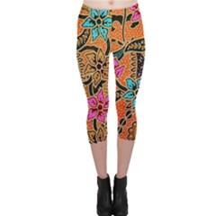 Colorful The Beautiful Of Art Indonesian Batik Pattern Capri Leggings