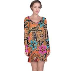 Colorful The Beautiful Of Art Indonesian Batik Pattern Long Sleeve Nightdress