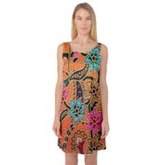 Colorful The Beautiful Of Art Indonesian Batik Pattern Sleeveless Satin Nightdress