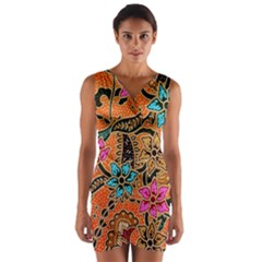 Colorful The Beautiful Of Art Indonesian Batik Pattern Wrap Front Bodycon Dress