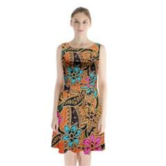 Colorful The Beautiful Of Art Indonesian Batik Pattern Sleeveless Chiffon Waist Tie Dress
